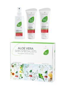 LR ALOE VIA Aloe Vera Special Care Box - Emergency Spray - Concentrated Gel - Propolis Cream