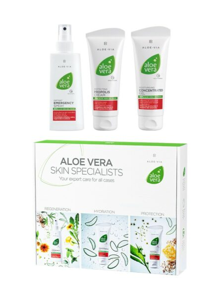 LR ALOE VIA Aloe Vera Special Care Box - Emergency Spray - Concentrated Gel - Propolis Cream