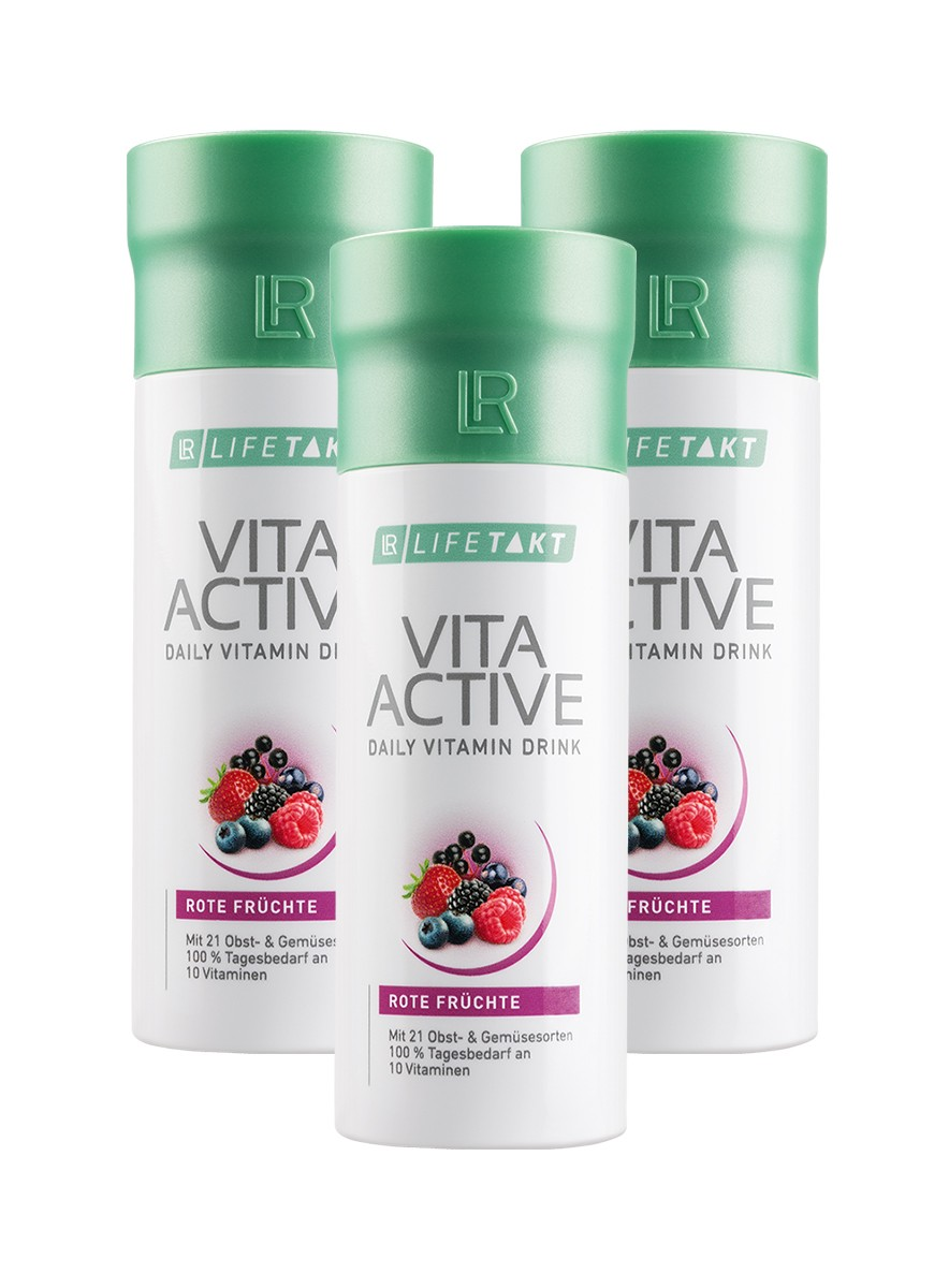 LR LIFETAKT Vita Active Daily Vitamin Drink Red Fruit - Vita Aktiv Dagelijkse Vitamine Drank Rode Vruchten - Set van 3